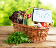 Bio Vegetables in a Basket with Bio Note Stock Images