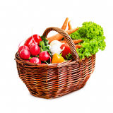 Bio Vegetables Basket Isolated Stock Images