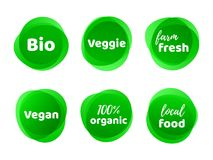 Bio veggie farm vegan organic food vector label. Bio, veggie, farm fresh, vegan, 100 organic and local food product label icon set. Vector green eco symbol for royalty free illustration