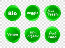Bio veggie farm  vegan 100 organic  vector labels. Bio, veggie, farm fresh, vegan, 100 organic and local food product label icon set. Vector green eco symbol for Stock Images