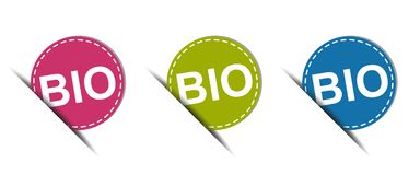 BIO Web Button - Colorful Vector Icons - Isolated On White. Background Royalty Free Illustration