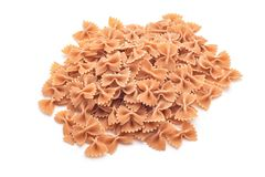 Whole wheat farfalle pasta Royalty Free Stock Images