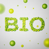 Bio word consisting of colored 3d particles Royalty Free Stock Image
