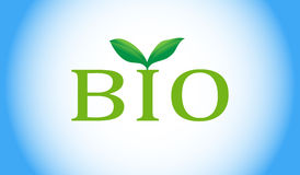 Bio word with green plant Royalty Free Stock Image
