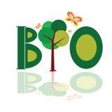 Bio word icon with tree illustration vector Stock Image