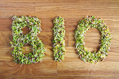 Bio word made of organic sprouts Royalty Free Stock Image