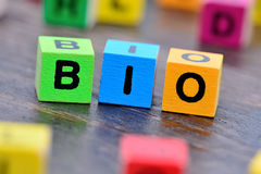Bio word on table Royalty Free Stock Photos