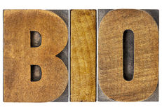 Bio word in wood type Royalty Free Stock Photo