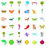 Bio world icons set, cartoon style Royalty Free Stock Image
