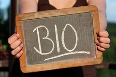 BIO. Written with chalk on slate shown by young female Stock Photo