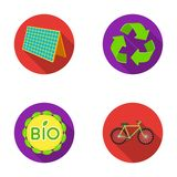 Bioaufkleber, eco Fahrrad, Sonnenkollektor, Zeichen aufbereitend Bio- und gesetzte Sammlungsikonen der Ökologie in der flachen Ar Lizenzfreies Stockfoto