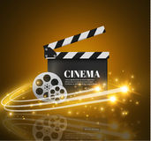 Biobakgrund med film Blå bakgrund med den ljusa stjärnan nytt s år för brädeclapperillustration Vektorreklamblad eller affisch Fotografering för Bildbyråer