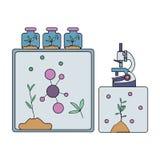 Biochemical laboratory equipment. Microscope, molecules, and laboratory plants. Vector illustration, isolated on white. Biochemical laboratory equipment royalty free illustration