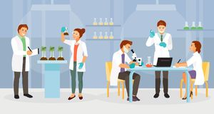 Biochemical laboratory vector. Scientists working in the biochemical laboratory. Vector illustration royalty free illustration