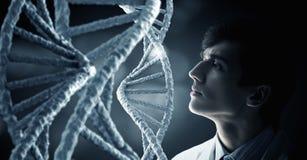 Biochemiestudie en onderzoek Gemengde media Stock Foto