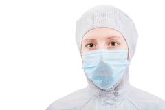 Biochemist portrait of a woman in a protective suit Stock Photography