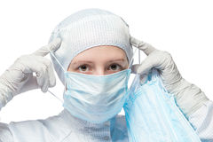 Biochemist worker wears a protective mask for work Stock Photo