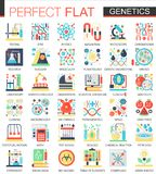 Biochemistry, biology genetics vector complex flat icon concept symbols for web infographic design. Biochemistry, biology genetics vector complex flat icon Royalty Free Stock Photography