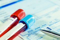 Biochemistry blood tests. Form to fill in the results of  biochemistry blood tests Royalty Free Stock Image