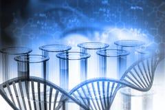 Biochemistry concept. Lab, chemistry, DNA structure, on blue background. 3d illustration biochemistry concept Royalty Free Stock Photo