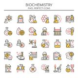 Biochemistry Elements , Thin Line and Pixel Perfect Icons. Biochemistry and Chemistry Elements , Thin Line and Pixel Perfect Icons royalty free illustration