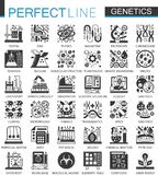 Biochemistry genetics black mini concept icons and infographic symbols set. Biochemistry genetics black mini concept icons and infographic symbols set Royalty Free Stock Photo