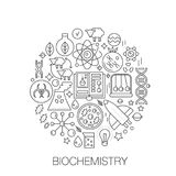 Biochemistry genetics in circle - concept line illustration for cover, emblem, badge. Biology technology thin line. Stroke icons set Stock Image