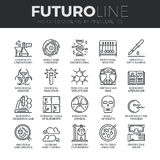 Biochemistry and Genetics Futuro Line Icons Set Stock Photo