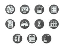 Biochemistry gray round icons set. Abstract white silhouette symbols for biochemistry. Laboratory equipment, research, tools and documentation. Set of gray round Stock Photography