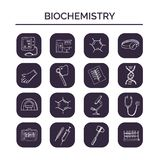 Biochemistry hand drawn doodle set. Sketches. Vector illustration for design and packages product. Symbol collection. Biochemistry haand drawn doodle set Royalty Free Stock Photography