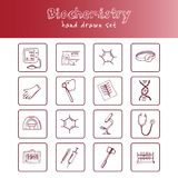 Biochemistry hand drawn doodle set. Sketches. Vector illustration for design and packages product. Symbol collection. Biochemistry haand drawn doodle set Royalty Free Stock Photo