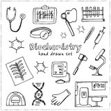 Biochemistry hand drawn doodle set. Sketches. Vector illustration for design and packages product. Symbol collection. Biochemistry haand drawn doodle set Stock Photos