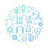 Biochemistry vector blue concept round outline illustration stock illustration