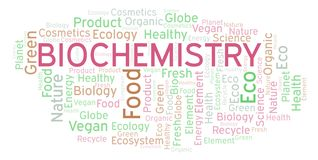 Biochemistry word cloud. Wordcloud made with text only stock illustration