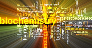 Biochemistry wordcloud concept illustration glowing Stock Photos