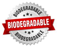 Biodegradable badge. Biodegradable round badge with ribbon Royalty Free Stock Photos