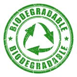 Biodegradable green vector stamp. Illustration isolated on white background Stock Photo