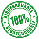 100 biodegradable stamp. 100 biodegradable vector rubber stamp Royalty Free Stock Photography