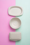 Biodegradable takeout пищевые контейнеры Стоковая Фотография