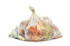 Biodegradable waste in a biodegradable bag Royalty Free Stock Photos
