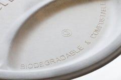 Biodegradierbare und kompostierbare Papierplatte Stockfoto