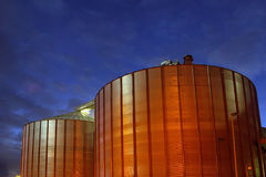 Biodiesel fuel storage tanks. Giant tanks for storage of biogasoline produced from biomass such as algae, vegetable oil or animal fat Stock Photo