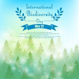 Biodiversity background with palm trees and ribbon. Illustration of Biodiversity background with palm trees and ribbon Stock Images