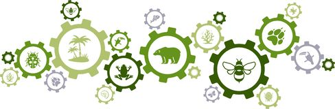 Biodiversity icon concept – endangered species & wildlife icons, vector illustration. Abstract concept in green color with connected gears and wild animal stock illustration