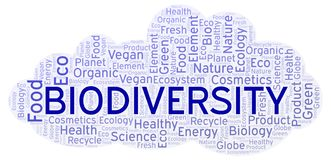 Biodiversity word cloud. Wordcloud made with text only stock illustration