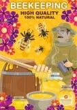 Biodlinghonung och apiaristman, vektor royaltyfri illustrationer