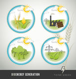 Bioenergy and power generation icons Royalty Free Stock Photography