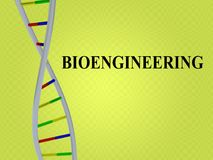 Bioengineering - biotechnological concept. 3D illustration of BIOENGINEERING script with DNA double helix , isolated on pale green background Stock Image