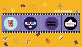 Biofestivalaffisch med camcorderkonturn och attribut av illustrationen för filmbransch - tecknad film Plan design, 3D, s stock illustrationer
