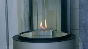 Biofireplacebrandwond op ethylalcoholgas stock videobeelden